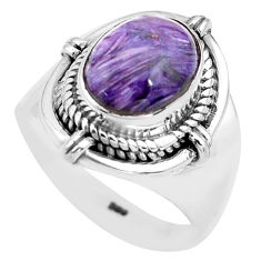 4.46cts natural purple charoite 925 silver solitaire ring size 7 p81233