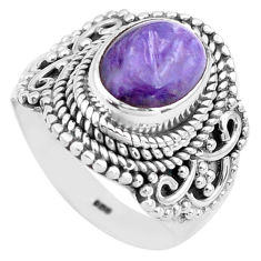 4.20cts natural purple charoite 925 silver solitaire ring size 6.5 p81235