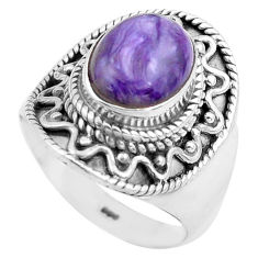 4.20cts natural purple charoite 925 silver solitaire ring size 6.5 p81240