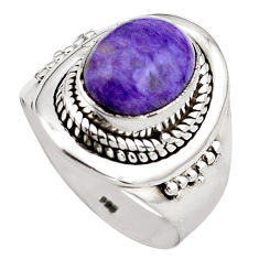 4.40cts natural purple charoite 925 silver solitaire ring size 6.5 p88897