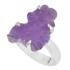 8.44cts natural purple grape chalcedony 925 silver solitaire ring size 8 p63441