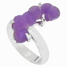 6.39cts natural purple grape chalcedony 925 silver solitaire ring size 6 p63443