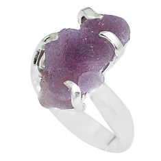 7.67cts natural purple grape chalcedony 925 silver solitaire ring size 6 p63446