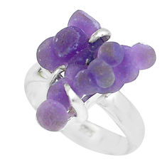 7.24cts natural purple grape chalcedony 925 silver solitaire ring size 6 p63456