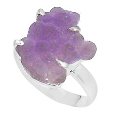 8.06cts natural purple grape chalcedony 925 silver solitaire ring size 8 p63457