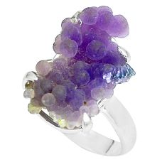 10.02cts natural purple grape chalcedony 925 silver solitaire ring size 9 p63459