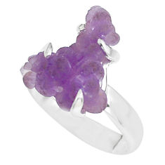 7.17cts natural purple grape chalcedony 925 silver solitaire ring size 8 p63461