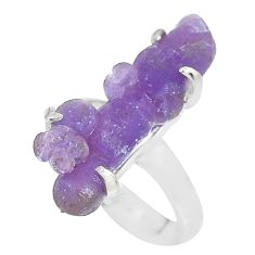 9.04cts natural purple grape chalcedony 925 silver solitaire ring size 7 p63462