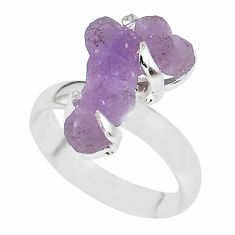 6.82cts natural purple grape chalcedony 925 silver solitaire ring size 7 p63463