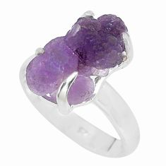 7.15cts natural purple grape chalcedony 925 silver solitaire ring size 8 p63468