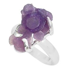 9.32cts natural purple grape chalcedony 925 silver solitaire ring size 8 p63473