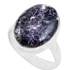 11.21cts natural purple lepidolite 925 silver solitaire ring size 7.5 p80602