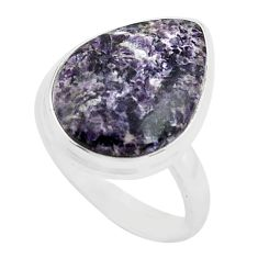 13.15cts natural purple lepidolite 925 silver solitaire ring size 7 p80605