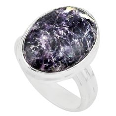 10.81cts natural purple lepidolite 925 silver solitaire ring size 7 p80607