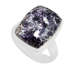 10.64cts natural purple lepidolite 925 silver solitaire ring size 7 p80612