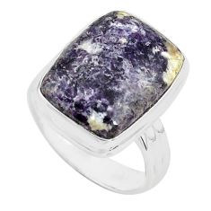 10.23cts natural purple lepidolite 925 silver solitaire ring size 7 p80615
