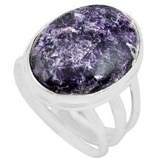 15.16cts natural purple lepidolite 925 silver solitaire ring size 8 p80618
