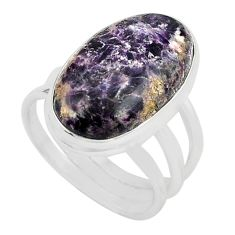 14.23cts natural purple lepidolite 925 silver solitaire ring size 8 p80620