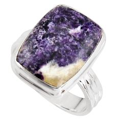 9.63cts natural purple lepidolite 925 silver solitaire ring size 8 p90983