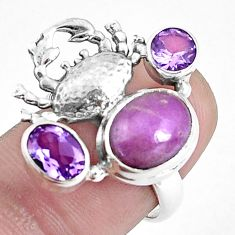 7.13cts natural purple phosphosiderite 925 silver crab ring size 6 p42751