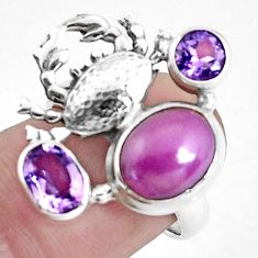 7.02cts natural purple phosphosiderite 925 silver crab ring size 7 p42752