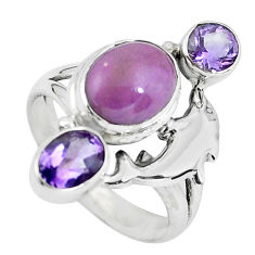 6.83cts natural purple phosphosiderite 925 silver dolphin ring size 7.5 p61063