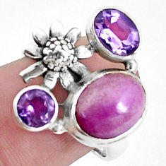 6.32cts natural purple phosphosiderite 925 silver flower ring size 7 p42742