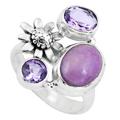 7.22cts natural purple phosphosiderite 925 silver flower ring size 6.5 p61074