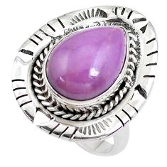 6.32cts natural purple phosphosiderite 925 silver solitaire ring size 7 p42186