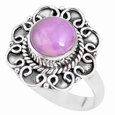 3.01cts natural purple phosphosiderite 925 silver solitaire ring size 8 p63082
