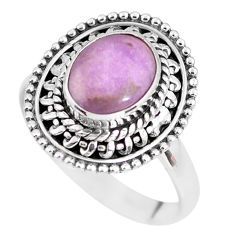 3.17cts natural purple phosphosiderite 925 silver solitaire ring size 8 p63083