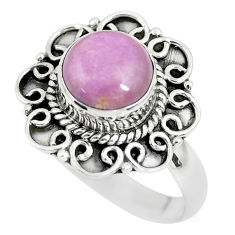 2.98cts natural purple phosphosiderite 925 silver solitaire ring size 7.5 p63094