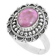 3.33cts natural purple phosphosiderite 925 silver solitaire ring size 8 p63098