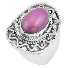 4.71cts natural purple phosphosiderite 925 silver solitaire ring size 8 p81281