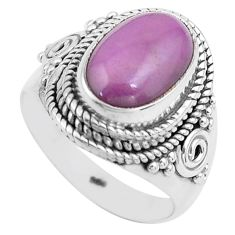 4.27cts natural purple phosphosiderite 925 silver solitaire ring size 6.5 p81283