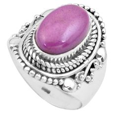 4.55cts natural purple phosphosiderite 925 silver solitaire ring size 7 p81286