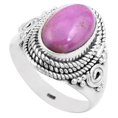 4.47cts natural purple phosphosiderite 925 silver solitaire ring size 8 p81287
