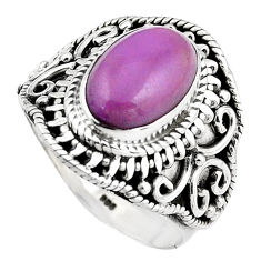 4.38cts natural purple phosphosiderite 925 silver solitaire ring size 8 p88876