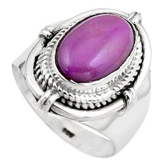 4.65cts natural purple phosphosiderite 925 silver solitaire ring size 6.5 p88880