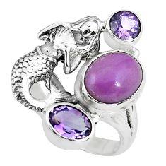 7.09cts natural purple phosphosiderite silver fairy mermaid ring size 8 p61062