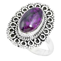 4.22cts natural purple sugilite 925 silver solitaire ring jewelry size 8 p63237