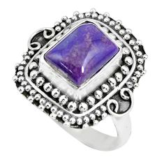 4.38cts natural purple sugilite 925 silver solitaire ring jewelry size 8 p63240