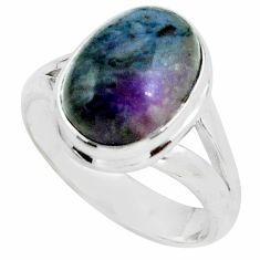 5.79cts natural purple sugilite 925 silver solitaire ring jewelry size 8 p68321