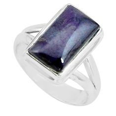 6.31cts natural purple sugilite 925 silver solitaire ring size 7.5 p68337