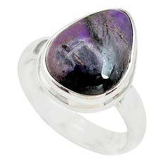 6.85cts natural purple sugilite 925 silver solitaire ring size 6.5 p71430
