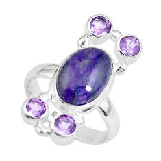 7.63cts natural purple sugilite amethyst 925 sterling silver ring size 7 p61848