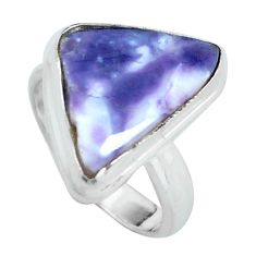 7.04cts natural purple tiffany stone 925 silver solitaire ring size 5 d32033