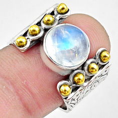 5.38cts natural rainbow moonstone 925 silver gold solitaire ring size 9.5 p81032