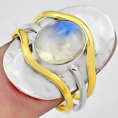 4.82cts natural rainbow moonstone 925 silver gold solitaire ring size 8.5 p81096