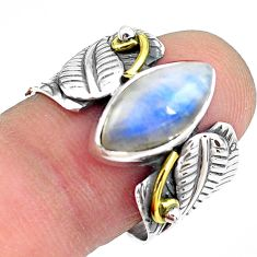 6.20cts natural rainbow moonstone 925 silver gold solitaire ring size 8.5 p87959